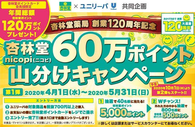 ユニリーバ・杏林堂60万ポイント山分けキャンペーン