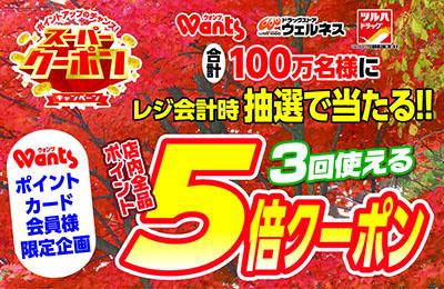 ウォンツスーパークーポンキャンペーン!